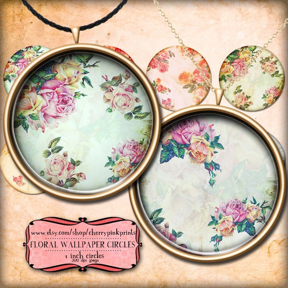 Floral Circles 1 inch circles, digital collage sheet, Vintage shabby chic style for pendants, magnets, scrapping, craft supply.