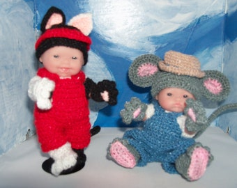 5 inch Berenguer Dolls Playing Cat and Mouse/MADE TO ORDER