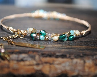 INSPIRE ME Guitar String Charmed Bangle Bracelet/ Greens and Gold/Recycled String Wire Wrapped and Adorned with Chain and Charms