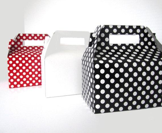 "Set of 20 Black Polka Dot - Red Polka Dot - White - 6 1/2""  Gable Top Boxes"