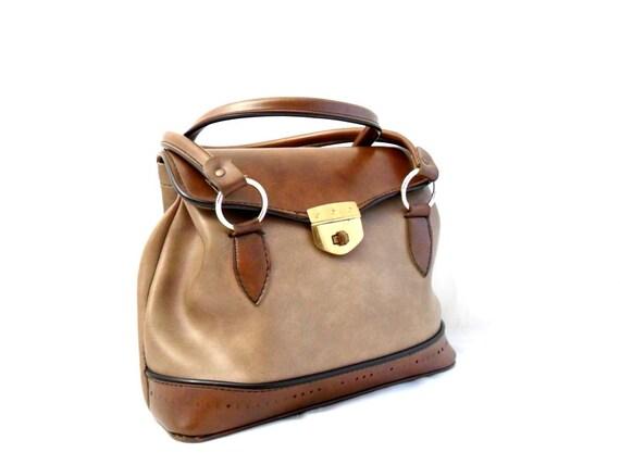 RESERVED FOR OLGA Vintage, Tan Brown Leather Purse/Handbag/Tote