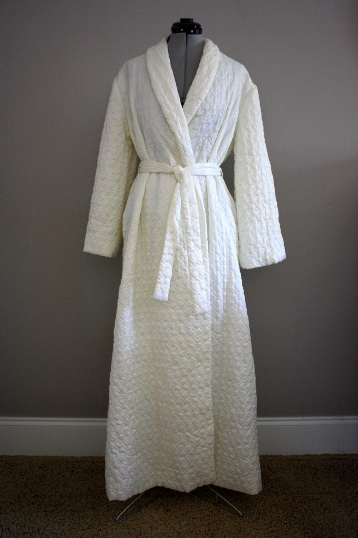 Vintage Satin Quilted Robe White Barbizon Large Xl