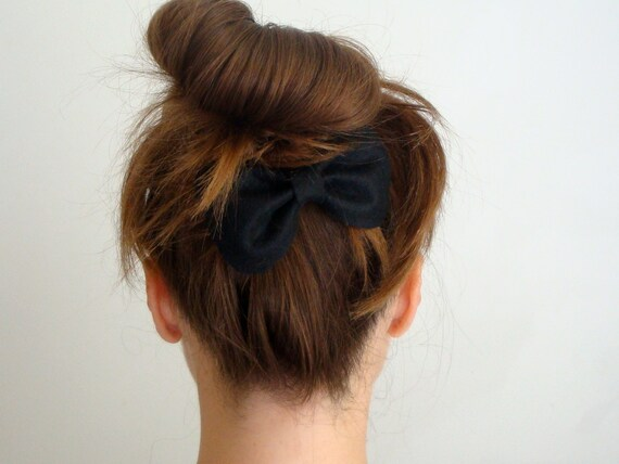 Big Bow // Black Felt Bow Hair Clip // Original Design // Ready to ship