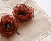 Set of 2 Copper Rust Turquoise Tiffany  Hand Made Organza Flowers  Hair Bobby Pins