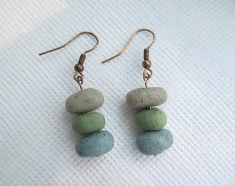 Faux Rainbow Zen Garden  River Rock Earrings