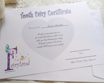 Tooth Fairy Certificate personalized with child's name - fantasy theme