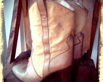 ROUND UP   ///    Cream Leather & Canvas Cowboy Heels
