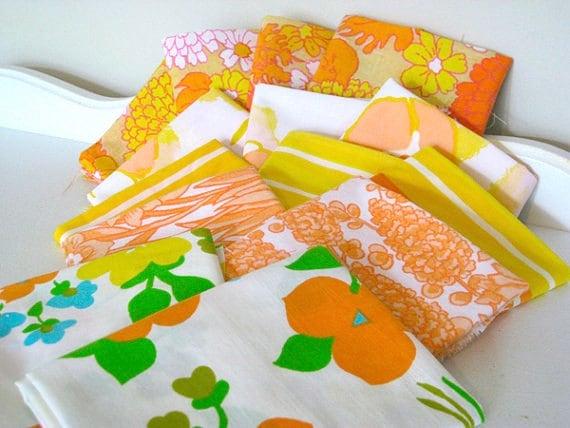 Vintage Fabric - Reclaimed Bed Linens -  Fat Quarters Lot - Bundle of 14 -  Nehiandzotz
