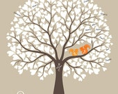 Wedding Tree with Squirrels Guest Book Alternative Print, Anniversary or Wedding Gift, Personalized with Your Own Colors, 17x22