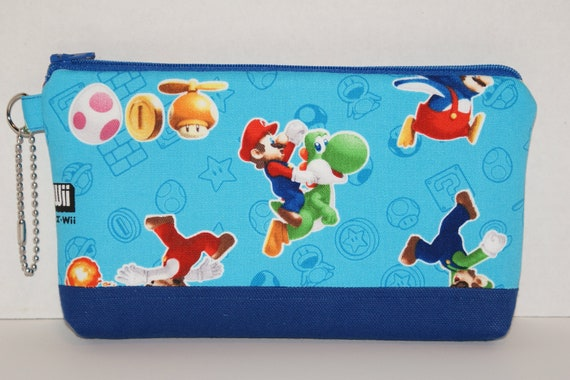 """Large Zipper Pouch/Pencil Case Made with Japanese Fabric """"Super Mario Bros Wii"""""""