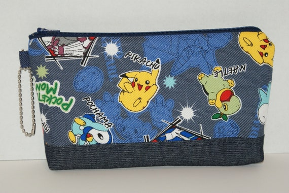 "Large Padded Zipper Pouch/ Pencil Case  Made with Denim Fabric ""Pokemon Diamond Pearl"""