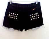 High Waisted Black Studded American Flag Denim Shorts