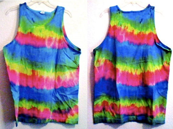Men's Extra Large Tie Dyed Blue Yellow Pink and Green Tank