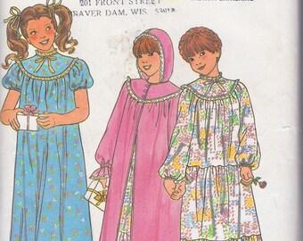 Butterick 6355 Girl's Nightgown and Robe Pattern, UNCUT, Size B(10-12-14), Sleepwear