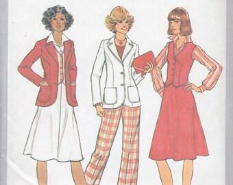 Simplicity 9747 Misses' Unlined Jacket, Vest, Skirt and Pants Pattern, UNCUT, Size 12