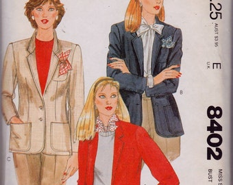 McCall's 8402 Misses' Lined Jacket Pattern, UNCUT, Size 12, Fitted