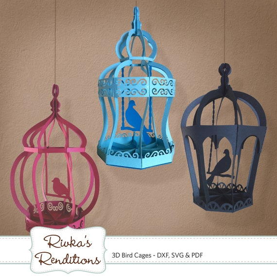 3D Bird Cages Digital Cut File and Template - DXF, SVG and PDF