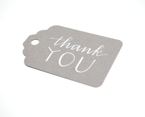 Thank You Gift Tags . Handwritten Calligraphy and Modern Capitals . White Ink on Graphite Grey . Wedding Favor Packaging . Set of 5