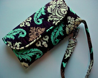 Wristlet Wallet Carry all Quilted  in Aviary 2 Damask Bark