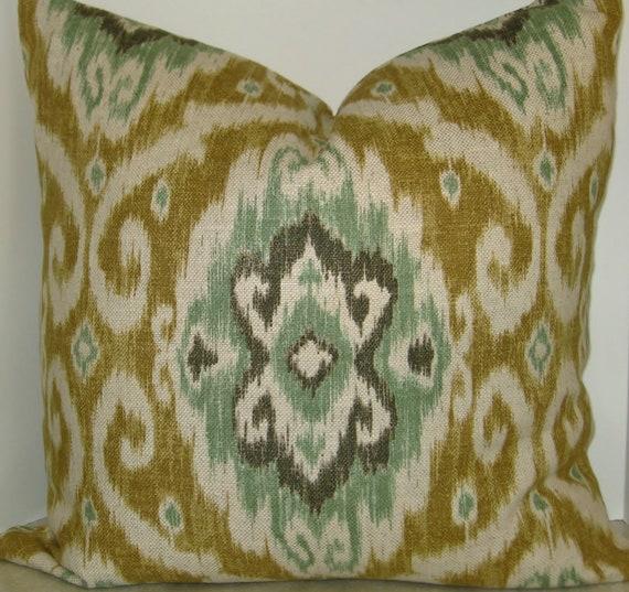 BOTH SIDES 20 x 20 Iman Opal Ubud Ikat pillow cover tan green mint gold