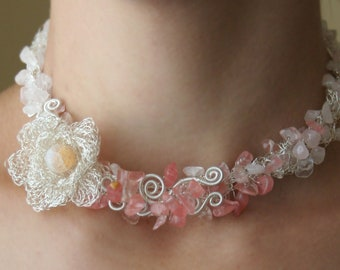 Rose Garden - floral statement necklace of rose quartz and cherry quartz silver plated wire crocheted rose