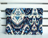 Blue Ikat Amy Butler Ipad Case, Ipad Sleeve Cover with Zipper Pocket, Zipper Closure Padded