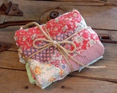 Patchwork Quilt Bundle Vintage Primitive Shabby  Hand Quilted Cutter Feedsack Quilt Pieces 4 Crafting