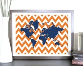 World Map Chevron Artwork, Chevron World, 16x12 Inches, Travel Art