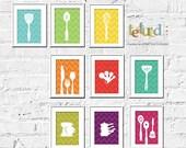 Chevron Kitchen Art Prints - Colorful Chevron- 5X7 Inches, Gift for cooks, Kitchen Art