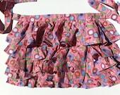 Girls Pink Ruffled Tiered Half Apron (Size 7-8)