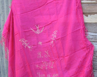 Vintage Hot Pink Silk Sweetheart Souvenir Scarf Spanish American War