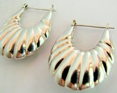 Vintage Puffy Silver Hoop Earrings