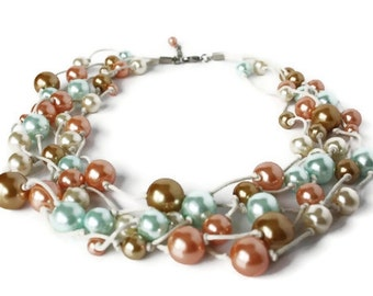 Pastel Glass Pearl Hand Knotted Necklace