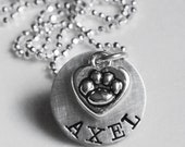 Pet Loss Memorial Personalized Necklace Custom Name Paw Print Pet Lovers Cat Dog Hand Stamped Gift