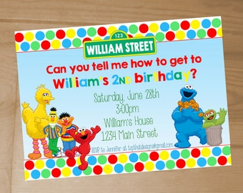 Sesame Street Birthday Invitation- Digital File