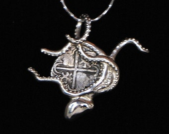 Sterling Silver Octopus with Authentic Philippus II 2 Reales Silver Cobb