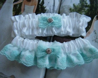 Beautiful Soft Green Lace on White Satin Garter Set                     Ready to ship