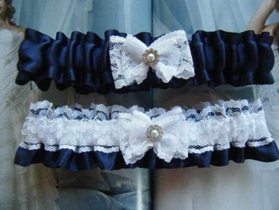 Navy and White Garter Set with Pearl and Rhinestone Embellishment                     Ready to ship
