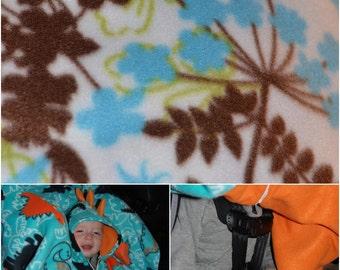 Precious Car-N-Go Poncho - Car Seat Poncho - Custom Double Layer Fleece - Blue Floral