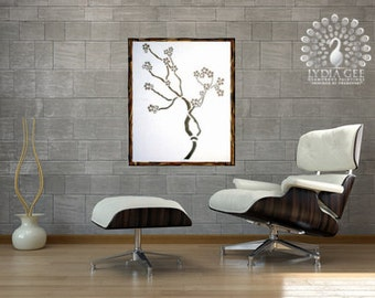 """Tree of Life wall art - original abstract tree painting encrusted with Swarovski crystals and glitter 20""""x24'' bonsai art off white paintin"""