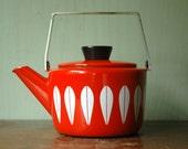 Cathrineholm Enamel Teapot - Mid Century Modern Orange Enamelware