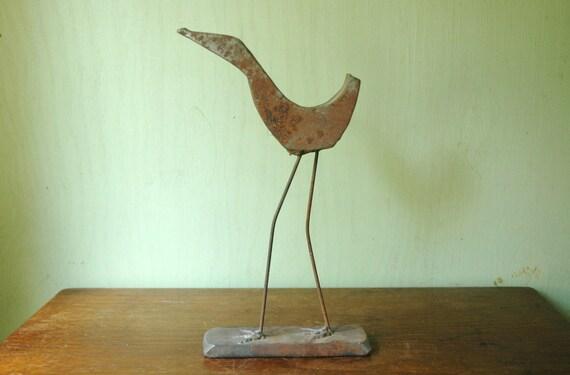 Mid Century Brutalist Bird Sculpture - Danish Modern Frederick Weinberg Era Iron Animal Sculpture