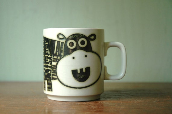 Mid Century Modern Hornsea Hippo Jungle Mug - Graphic Modernist Animal Coffee Cup