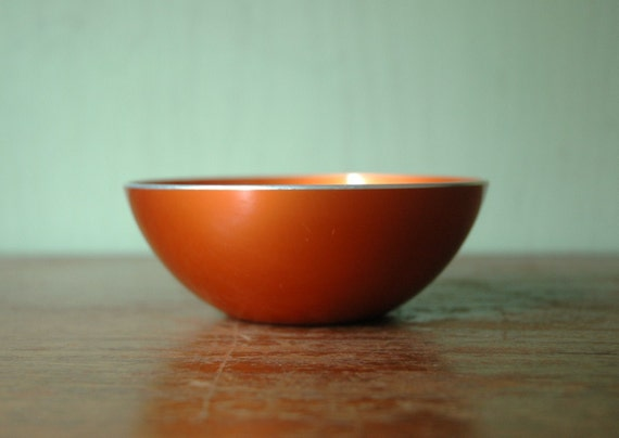 Danish Modern Emalox Enamel Bowl- Emalox of Norway Orange Enamelware Bowl