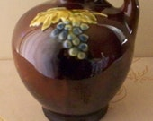 Peters and Reed Pottery Pitcher Tankard Standard Glaze Decorated Grape Motif 1910's Country Kitchen Cottage Chic