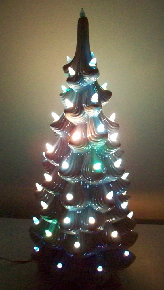 Ceramic Christmas Tree Blue Lights Iridescent Glaze Large 24