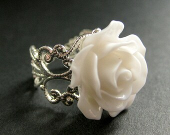 White Rose Ring. White Flower Ring. Filigree Ring. Adjustable Ring. Flower Jewelry. Handmade Jewelry.