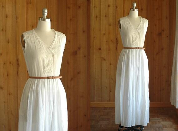 vintage white dress / boho white cotton maxi dress / size medium
