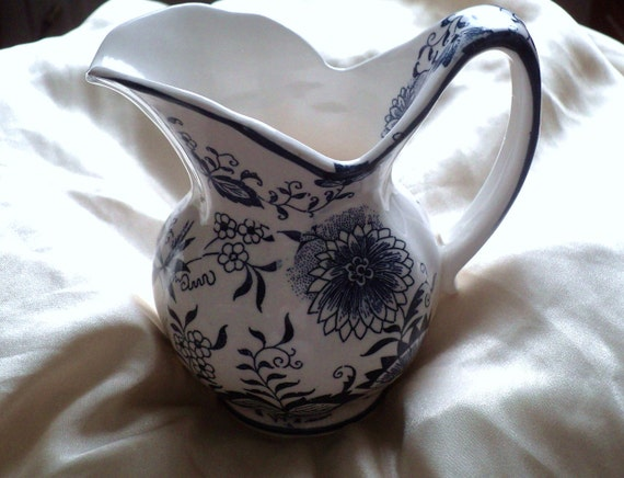 REDUCED   Blue and White Floral Pitcher