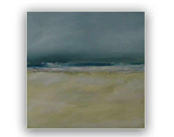 """Painting Acrylic Original, Bright Moon Dunes Abstract Seascape - 20"""" x 20"""" Free Shipping"""